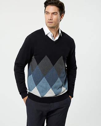 Le Château Argyle Print Cotton V-Neck Sweater