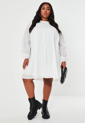 Missguided Plus Size White Long Sleeve Smock Dress