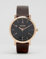 Nixon Rollo 38 Leather Watch In Brown