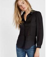 Express black semi sheer bib shirt