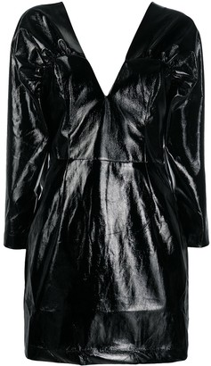 Rotate by Birger Christensen faux-leather V-neck dress