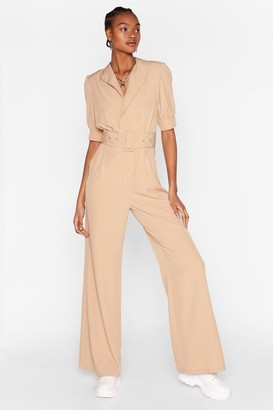 Nasty Gal Womens Another Notch on Your Belted Wrap Jumpsuit - Beige - 10