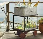 Pottery Barn Galvanized Metal Rolling Wagon Party Bucket with Bottle Opener