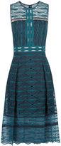Jonathan Simkhai Teal Organza Embroidered Midi Dress