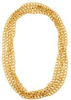 Saint Laurent Textured Long Curb Chain Necklace