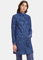 MSGM Women's Scalloped Lace Coat in Blue