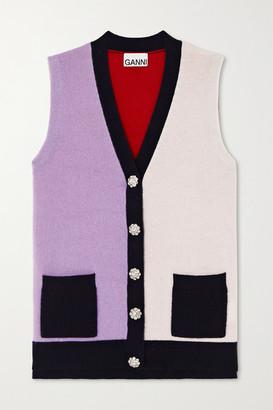 Ganni Crystal-embellished Color-block Cashmere Vest - Lilac