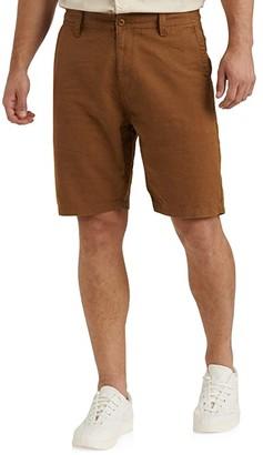 Lucky Brand Linen Flat Front Shorts (Black Onyx) Men's Shorts