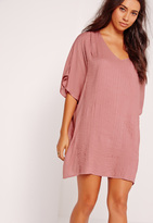 Missguided Pleated Front Cheesecloth Dress Pink
