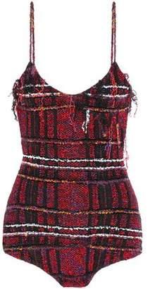 Balmain Frayed Metallic Boucle-tweed Bodysuit