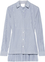 Sacai Pleated Striped Cotton-poplin Shirt - Blue