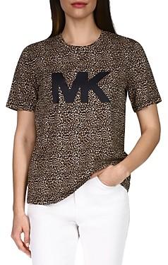 MICHAEL Michael Kors Cheetah Print Logo Tee