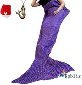 """Kpblis174;Knitted Mermaid Blanket Tail for Kids and Adults,Super Soft and Fashion Sleeping Bags 75""""31""""(Purple)"""