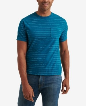 Lucky Brand Men's Short Sleeve Sunset Wave Stripe Crew Neck T-shirt