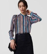 LOFT Striped Puff Sleeve Blouse