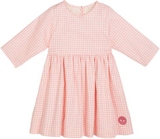 Smiling Button Houndstooth Print 3/4-Sleeve Dress, Size 18m-10