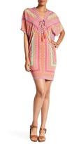 Hale Bob Cold Shoulder Embellished Bead Print Dress