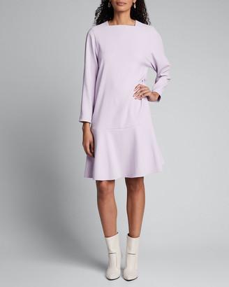 Tibi Chalky Drape Square-Neck Drop-Waist Dress