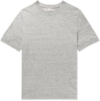 Brunello Cucinelli Slim-Fit Melange Slub Linen And Cotton-Blend T-Shirt