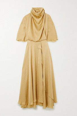 Roksanda Senja Asymmetric Draped Hammered-satin Dress - Gold