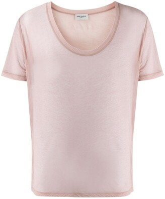Saint Laurent sheer u-neck T-shirt