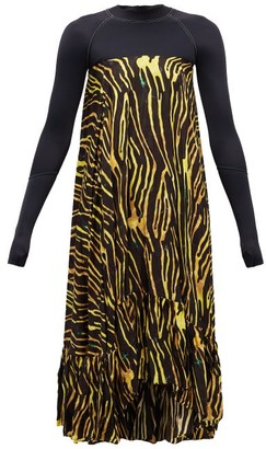 Marine Serre Abstract-print Satin Dress - Black Multi