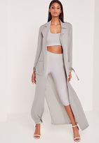 Missguided Carli Bybel Maxi Duster Coat Grey