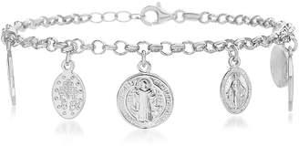 Bliss Women's Bracelets Silver - Sterling Silver Saint Benedict & Virgin Mary Charm Bracelet