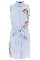 Quiz Blue Embroidered Sleeveless Shirt Dress