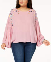 Eyeshadow Trendy Plus Size Embroidered Textured Top