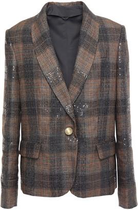 Brunello Cucinelli Checked Embellished Linen-blend Blazer
