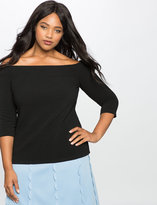 ELOQUII Plus Size Off the Shoulder Ottoman Top