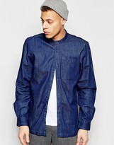 WÅVEN Regular Fit Denim Shirt Arne Grandad Torkel Blue Mid Wash