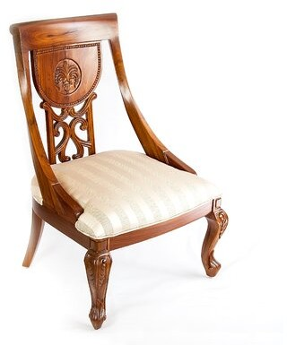 The Silver Teak Solid Wood Queen Anne Back Side Chair in Brown