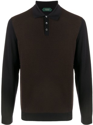 Zanone Two-Tone Longsleeved Polo Shirt
