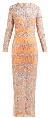 Ashish Sequinned Round Neck Maxi Dress - Womens - Beige