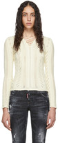 DSQUARED2 White Lace-Up V-Neck Sweater