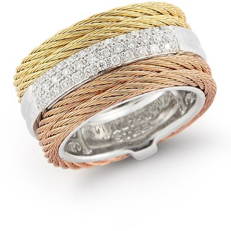 Alor Tri-Tone Cable & Diamond Band Ring - Size 7 - 0.28 ctw