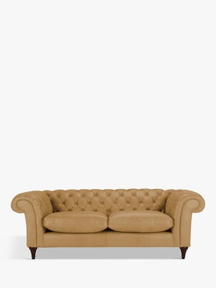 John Lewis & Partners Cromwell Chesterfield Grand 4 Seater Leather Sofa, Dark Leg