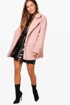 boohoo Petite Jenny Double Breasted Teddy Coat