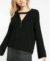 Express choker zip v-neck bell sleeve tunic sweater