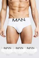 BoohooMAN 3 Pack MAN Logo Briefs