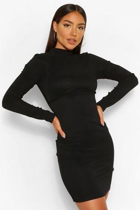boohoo Bandage Rib High Neck Long Sleeve Mini Dress
