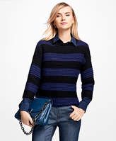 Brooks Brothers Merino Wool Cropped Rugby Sweater