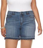 JLO by Jennifer Lopez Plus Size Release-Hem Boyfriend Jean Shorts