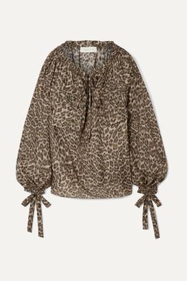 Zimmermann Suraya Gathered Leopard-print Silk-charmeuse Blouse