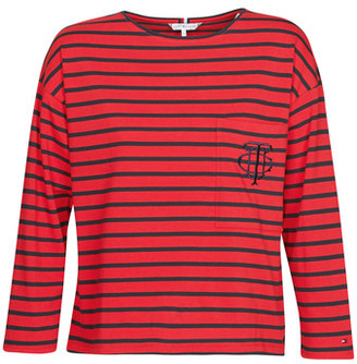 Tommy Hilfiger TH ESSENTIAL BRETON STP TOP LS women's Long Sleeve T-shirt in Red