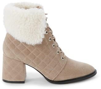 Karl Lagerfeld Paris Cantyn Faux Fur-Trim Suede Booties