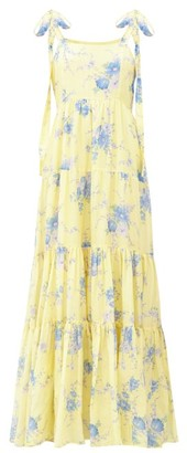LoveShackFancy Burrows Floral-print Cotton-blend Maxi Dress - Yellow Print