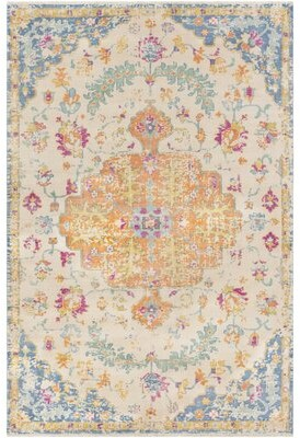 Surya Festival Vintage Hand-Knotted Wool Burnt Orange/Baby Blue Area Rug Rug Size: Rectangle 2' x 3'